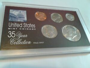 1990   SPECIAL 35 YEAR US MINT COIN COLLECTION SEALED CASE   5 COINS