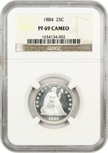 Click now to see the BUY IT NOW Price! 1884 25C NGC PR 69 CAM   NEAR PERFECTION    LIBERTY SEATED QUARTER
