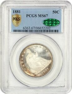 Click now to see the BUY IT NOW Price! 1881 50C PCGS/CAC MS67   GORGEOUS    LIBERTY SEATED HALF DOLLAR   GORGEOUS