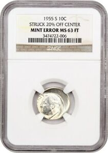 Click now to see the BUY IT NOW Price! MINT ERROR: 1955 S 10C NGC MS63 FT  STRUCK 20  OFF CENTER    ROOSEVELT DIME