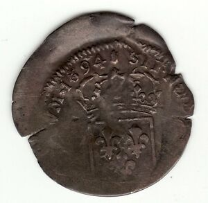 FRENCH COLONIAL 1694 RECOINED BILLON SOL  WITH 1640 LIS C/M OFF CENTER