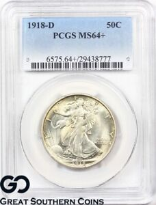 Click now to see the BUY IT NOW Price! 1918 D WALKING LIBERTY HALF DOLLAR PCGS MS 64     65 WHOLESALE BID: $20 500 PQ