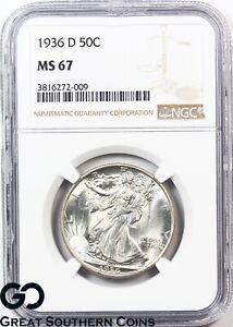 Click now to see the BUY IT NOW Price! 1936 D WALKING LIBERTY HALF DOLLAR NGC MS 67   SWIRLING LUSTER PREMIUM QUALITY