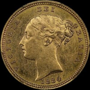 Click now to see the BUY IT NOW Price! 1884 MELBOURNE YOUNG HEAD HALF SOVEREIGN UNC  PCGS MS62