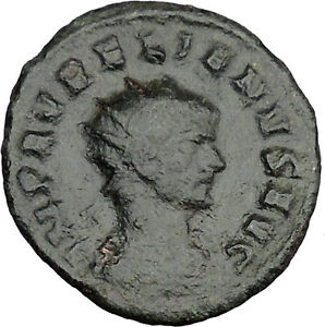 AURELIAN  RECEIVING VICTORY FROM ROMA 270AD  ANCIENT ROMAN COIN  I37627