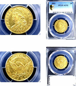 Click now to see the BUY IT NOW Price! 1812 $5 AU53 PCGS AMAZING BEAUTY CAPPED BUST HALF GOLD EAGLE