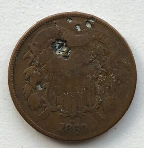 1869 2 CENT PIECE HOLED CCC269