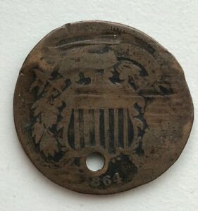 1864 2 CENT PIECE HOLED CCC281