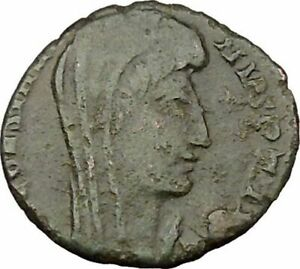 SAINT CONSTANTINE I THE GREAT IN CHARIOT TO GOD HAND IN HEAVEN ROMAN COIN I37882
