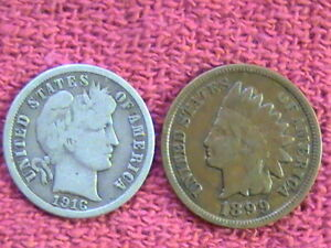 PRE 1940 LINCOLN WHEAT CENT ROLL  1899 IHC/ 1916 S  BARBER DIME ON END