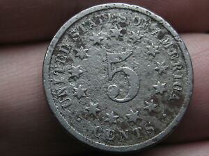 1874 SHIELD NICKEL 5 CENT PIECE  VG DETAILS