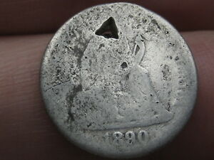 1890 P SEATED LIBERTY SILVER DIME  HOLED