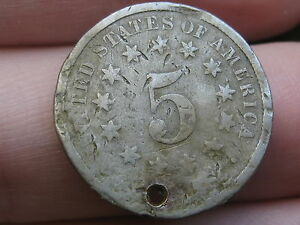 1874 SHIELD NICKEL 5 CENT PIECE  HOLED