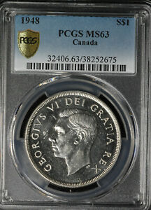 Click now to see the BUY IT NOW Price! BEAUTIFUL KEY DATE 1948 CANADA SILVER DOLLAR   PCGS MS 63