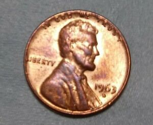 1963 D LINCOLN CENT PENNY  DOUBLE 3 ERROR