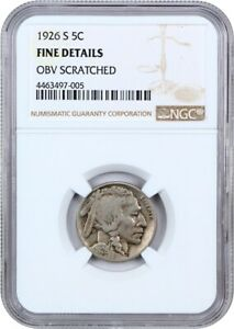 1926 S 5C NGC FINE DETAILS  OBV SCRATCHED    BUFFALO NICKEL   POPULAR KEY DATE