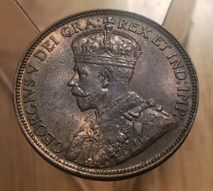 CANADA 1920 KING GEORGE V LARGE CENT  HIGH GRADE  UNC  RED BROWN