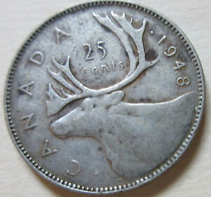1948 CANADA SILVER TWENTY FIVE CENTS COIN. QUARTER  RJ593B