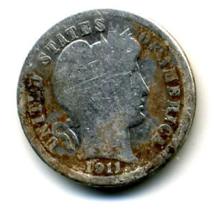 1911 P BARBER HEAD DIME 90  .900 SILVER US 10 CENT U.S AMERICAN 10C US COIN4593