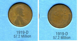 LINCOLN HEAD WHEAT CENT 1919 D AVERAGE CIRCULATED UNITED STATES 1 PENNY COIN B6