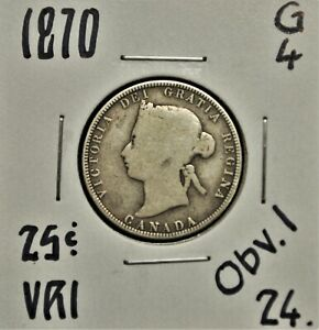 1870 OBV.1 CANADA 25 CENTS G 4