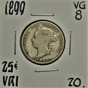 1899 CANADA 25 CENTS VG 8