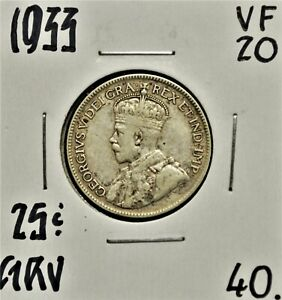 1933 CANADA 25 CENTS VF 20