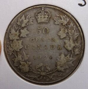 1920 CANADA 50 CENTS  SILVER COIN 0.800 CANADIAN COINS