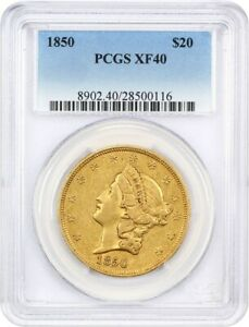 1850 $20 PCGS XF40   LIBERTY DOUBLE EAGLE   GOLD COIN