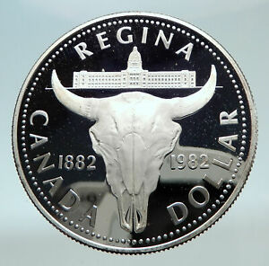 Click now to see the BUY IT NOW Price! 1982 CANADA UK QUEEN ELIZABETH II CATTLE SKULL PROOF SILVER DOLLAR COIN I80830