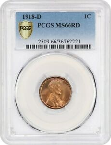 Click now to see the BUY IT NOW Price! 1918 D 1C PCGS MS66 RD   AMAZING GEM    LINCOLN CENT   AMAZING GEM
