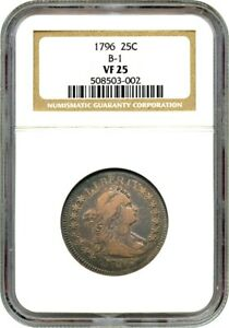 1796 25C NGC VF25  B 1  ONE YEAR TYPE COIN   BUST QUARTER   ONE YEAR TYPE COIN