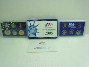 2005 US MINT PROOF SET OF 11 COINS  $2.96 FACE  WITH COA