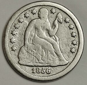 1856/1856 O SEATED LIBERTY DIME.  ERROR.  ABOUT FINE DETAIL.  141090