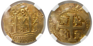 Click now to see the BUY IT NOW Price! PCW W1147  PERU. PHILIP V. 1731L N. GOLD 8 ESCUDOS. NGC AU 53. LOVELY EXAMPLE.