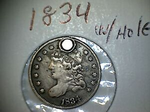 1834 CAPPED BUST SILVER HALF DIME WITH HOLE