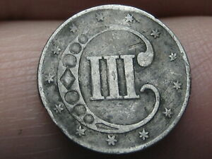 1852 THREE 3 CENT SILVER TRIME  VG DETAILS