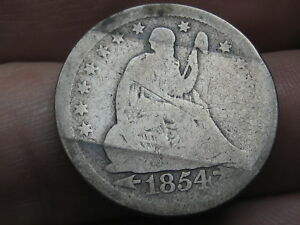 1854 P SILVER SEATED LIBERTY QUARTER  WITH ARROWS