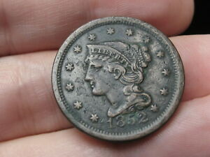 1852 BRAIDED HAIR LARGE CENT PENNY  VF/XF DETAILS