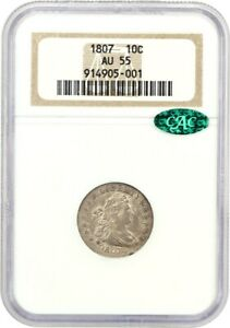 1807 10C NGC/CAC AU55   LOVELY TYPE COIN   BUST DIME   LOVELY TYPE COIN
