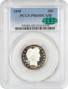 Click now to see the BUY IT NOW Price! 1898 25C PCGS/CAC PR 68 DCAM   BARBER QUARTER   WOW