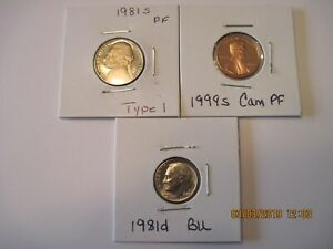 3 COIN LOT 1999S PF LINCOLN 1981S PF NICKEL AND 1981D BU DIME. BEAUTIFUL COINS