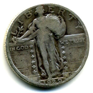 1929 P STANDING LIBERTY QUARTER DOLLAR 1929P 90  SILVER 25 CENT COIN US 103471