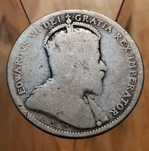 CANADA 1909 KING EDWARDS VII SILVER 25 CENTS COIN