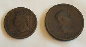 WILLIAM IV PROVINCE OF NOVA SCOTIA HALF PENNY TOKEN 1832 & GEORGE III PENNY 1806