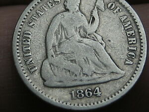 1864 S SEATED LIBERTY HALF DIME VG DETAILS