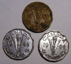 1943 1944 1945  CANADA 5 CENTS  COINS CANADIAN NICKEL WWII COIN WORLD WAR 2