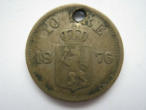 NORWAY 1876 SILVER 10 ORE F HOLED