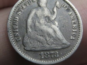 1873 SEATED LIBERTY HALF DIME  VG DETAILS