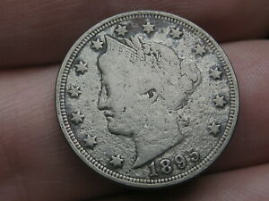 1895 LIBERTY HEAD V NICKEL 5 CENT PIECE  FULL RIMS VF DETAILS